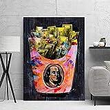 wZUN Cartel de Graffiti Arte Lienzo Pintura Abstracta Dinero y Personajes Carteles e Impresiones Sala de Estar Mural decoración del hogar 60x80 Sin Marco