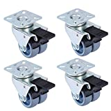 YeMI 3'' Dolly Caster Wheels Set of 4, Heavy Duty Furniture Casters with Brake for Wood Floor, 1056 Lbs Twin Wheels with Swivel Steel Top Plate for Workbench, Cart and Furniture