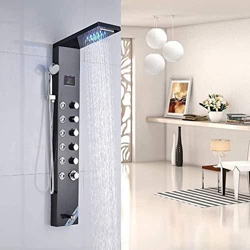 Nian Cabezal de ducha LED para cabina de ducha, Fabricado en acero inoxidable, Con rociador de mano, 8 boquillas de masaje