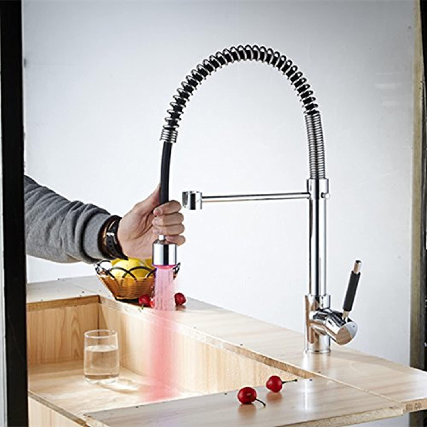 YAWEDA colord Kitchen Faucets Grifo Cocina Extraible Rubinetto Cucina Pull Out Bateria Kuchenna Led Kitchen Faucet Cuisine Robinet