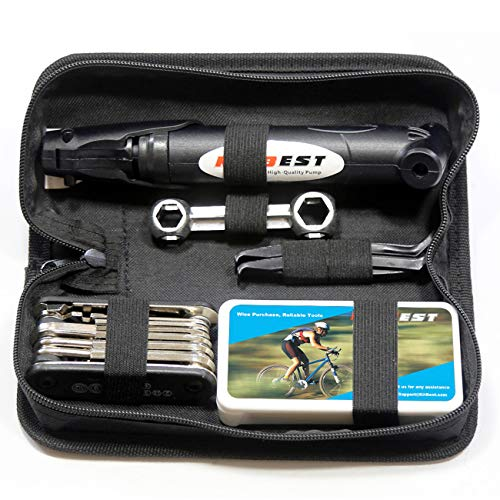 Kitbest Bike Repair Tool Kit. Bicycle Tire Pump, Tire Puncture Repair Kit, Bike Multi Tool Set, Glueless Tire Patches, Bicycle Tire Lever and Portable Bike Bag. Emergency All in One Bike Tool