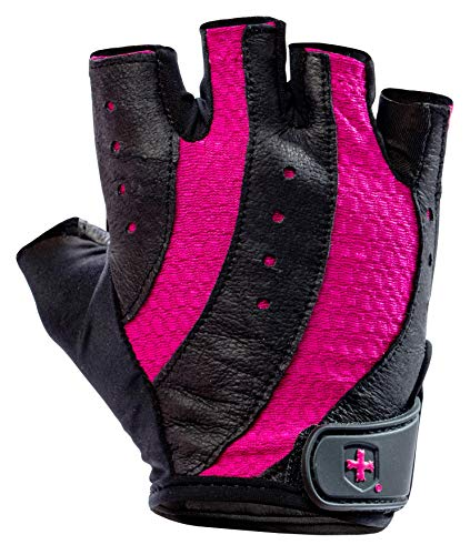 Harbinger Pro Non-Wristwrap Weightlifting Gloves with Vented Cushioned Leather Palm (Pair) , Black/Pink , Small (Fits 6.5 - 7 Inches)