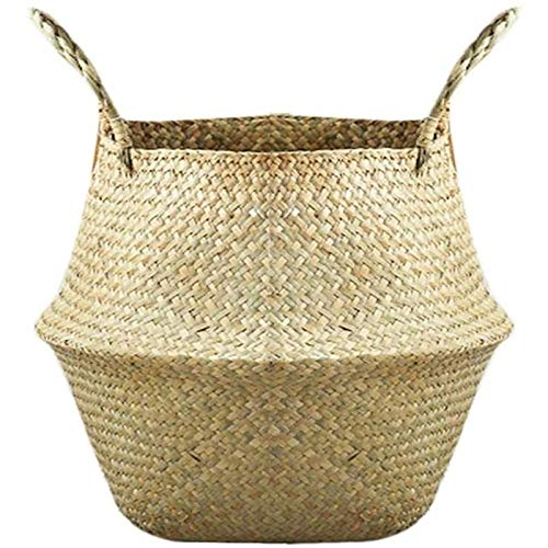 Wuqing Foldable Woven Storage Basket for The Garden Simple And Elegant Flower Vase Perfect for Hanging Basket Storage Basket Wall Decoration Pot,Yellow,S