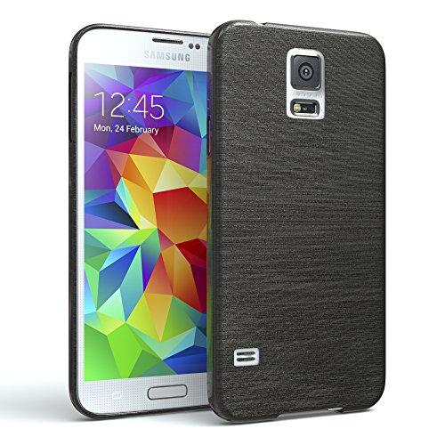 EAZY CASE Hülle kompatibel mit Samsung Galaxy S5 / S5 LTE+ / S5 Duos / S5 Neo Schutzhülle Silikon, gebürstet, Slimcover in Edelstahl Optik, Handyhülle, TPU, Backcover, Silikonhülle Brushed, Anthrazit