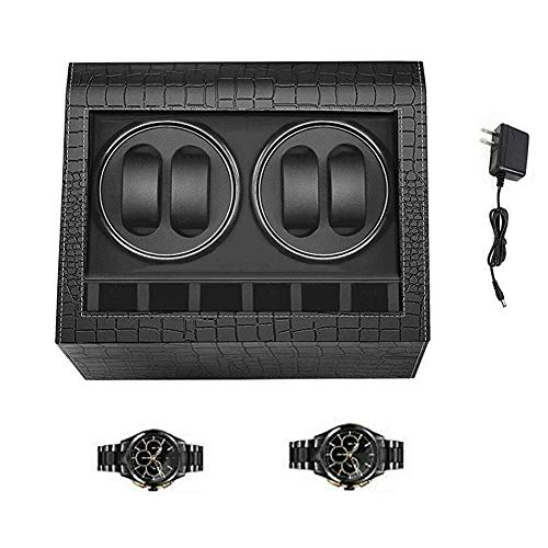XNDCYX Automatic Watch Winder, Watch Winder 4+6 Watch Storage Display Box Case with Quiet Motor, Crocodile PU Leather, with AC Powered, Black