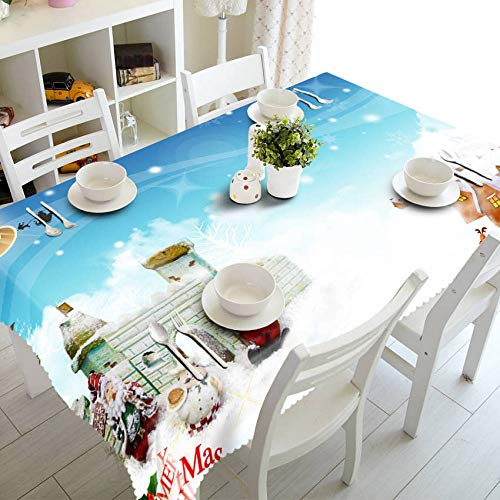Mantel de Mesa para Fiestas 3D Table Cloth Joyous Christmas Tree Pattern Waterproof Cloth Thicken Rectangular Wedding Tablecloth Home Textiles-Color_12_90cm_X_90cm