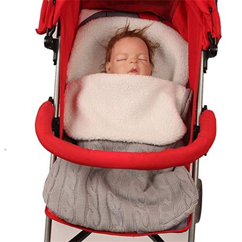 SHIJIAN Kinder Puckdecke Kinderwagen-Wickeldecke mit Samt, dick gestrickt, weich, warm, Fleece, Pucksack, Kinderwagen, Wimpelkette, für Jungen und Mädchen hellgrau
