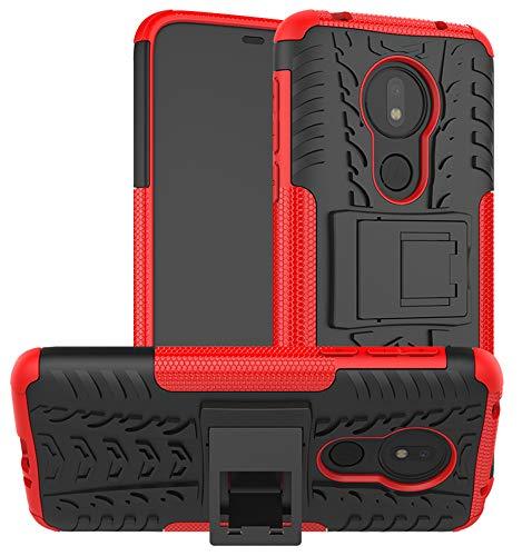 Yiakeng Handyhülle für Moto G7 Power Hülle, Doppelschicht Stoßfest Schlank Silikon 360 Grad Schutz Mit Ständer für Motorola G7 Power (rot)