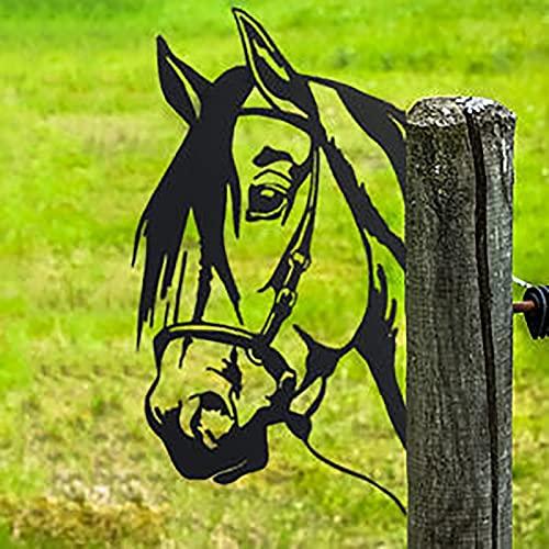 Edelrost Cow Metall, Rostiges Cow Spähen- Baumstecker edelrost deko Metall Rost Gartendeko Cow Figur- Rostdeko Metall Rost Gartenstecker,Rostoptik,Rost Deko für Garten (H-Pferd)