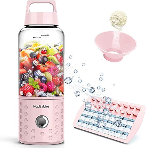 PopBabies Portable Blender, Mini Smoothie Maker with USB Rechargeable, Larger Stronger and Faster, Blending While Charging with Brush, Funnel, Recipe Princess Pink(FDA BPA Free)