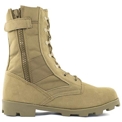 Bufferzone Men's 9' Tan Military Tactical Boot with Zipper, 7M