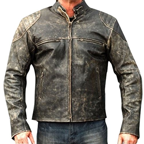 Red Smoke - Chaqueta - para Hombre Negro G. Cafe Racer Antique Distressed Black Jacket Medium