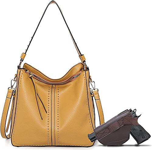 Large Concealed Carry Handbag and Purse For Women Designer Ladies Hobo Bag Faux Leather With Crossbody Strap and Gun Holster MWC-G1001GP
