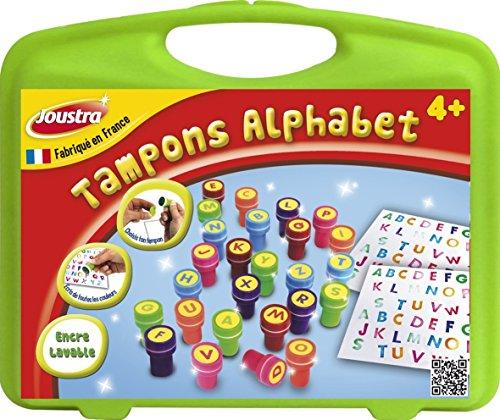 Joustra Mallette Alphabet Loisirs Créatifs pour Enfants dès 3 ans-26 Tampons Pré Encre Lavable-J41475, 41475, Multicolore