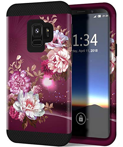 Hocase Galaxy S9 Case w/Unique Flower Pattern Design, Sturdy 3-Piece Heavy Duty Shockproof Protection Hard Armor Cover Rubbery Protective Case for Samsung Galaxy S9 2018 - Royal Purple