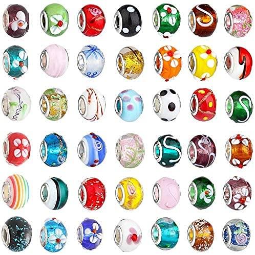 TIANYOU Cuentas de Vidrio Accesorios Accesorios de Cristal de Cristal de Cristal Endurecido Color Mezclado (50 Piezas) Gama Alta