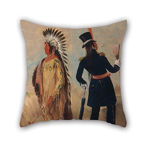 Dipinto a olio George Catlin - Wi-j? ?n-jon, federa per cuscino a forma di testa di uovo di piccione (la luce) per andare e tornare da Washington, ideale per festival, salotti, camere da letto per bambini, 40 x 40 cm