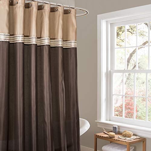 Lush Decor Terra Color Block Shower Curtain Fabric Striped Neutral Bathroom Decor, 72 by 72-Inch, Brown/Beige