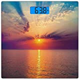 Escala digital de peso corporal de precisión Square Oceano Báscula de baño de vidrio templado ultra delgado Mediciones de peso precisas,Majestuoso amanecer en el mar tranquilo Horizon Dawn Rays Nubes