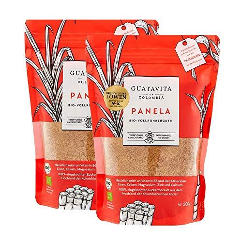Guatavita de Colombia Panela Vollrohrzucker aus Kolumbien | Echtes Zuckerrohr, fruchtig-karamellig, reich an Mineralien und Vitamin B6 | 2x500g [aus nachhaltigen Anbau]
