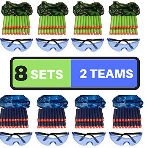 wishery Nerf Party Supplies Compatible with Nerf Guns, Nerf Fortnite. 8 Kids - Nerf Birthday Party Favors, Accessories.