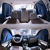 Car Side Window Sun Shades - 4 Pcs Sun Protection Front Rear Magnetic Privacy Sunshades Travel by Car Windshield Curtain for Baby Kids Sleep