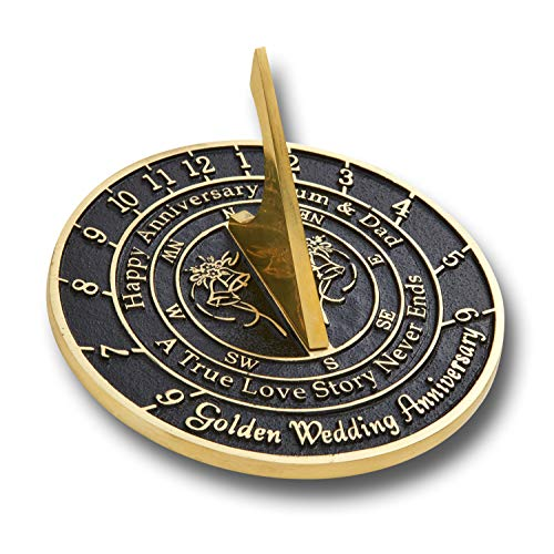 The Metal Foundry Personalized 50th Golden Wedding Anniversary Large Sundial Gift Idea is A Great Present for Him, for Her Or for A Couple to Celebrate 50 Years of Marriage