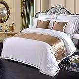 bedding w hotel - W-PLEIY Bed Runner Scarf European High End Hotel Bedding Plain Color Soft Non Shrinkable Golden Pattern 50X210cm