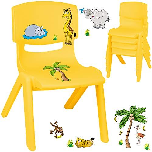 alles-meine.de GmbH Kinderstuhl / Stuhl - Motivwahl - gelb + Sticker - Zootiere & Giraffe - inkl. Name - Plastik - bis 100 kg belastbar / kippsicher - für INNEN & AUßEN - 0 - 99 ..