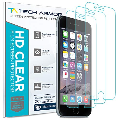 Tech Armor High Definition HD-Clear Film Screen Protector (Not Glass) for Apple iPhone 6S/iPhone 6 (4.7-inch) [3-Pack]