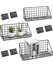 QIWODE zwevende planken wandmontage set van 3, wandopbergplanken voor slaapkamer, woonkamer, badkamer, keuken, kantoor en meer verkoold zwart