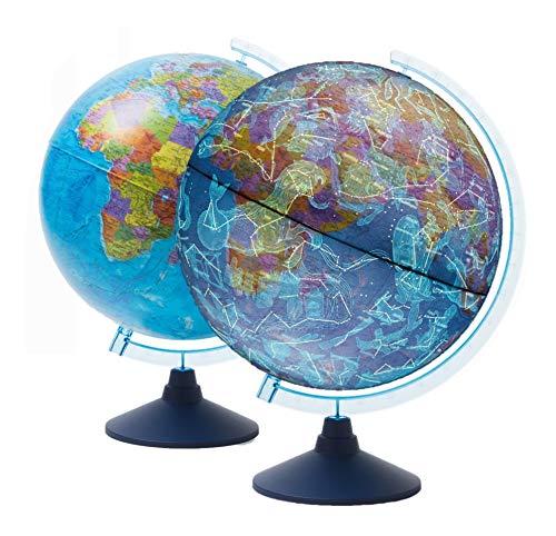 EXERZ 21cm Mappamondo Illuminato Con Illuminazione A LED Senza Cavi Giorno E Notte/Globo - in Inglese - Mappa Politica/Stelle Della Costellazione