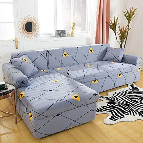 Fundas elásticas para sofá para Sala de Estar, Funda geométrica para sofá, Funda para sofá, Esquina para Mascotas, en Forma de L, Chaise Longue, Funda para sofá A14, 1 Plaza