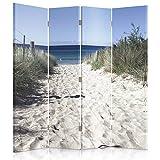 Feeby Frames Biombo Impreso sobre Lona, tabique Decorativo para Habitaciones, a una Cara, de 4 Piezas (145x180 cm), Playa, MAR, Blanco, Azul