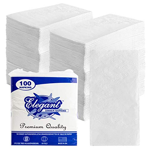 Stock Your Home 17Inch Dinner Napkins 200 Count  3 Ply White Dinner Napkins  Disposable Napkins with Printed Floral Design Recyclable Paper Napkins for Dinner Parties amp Daily Use