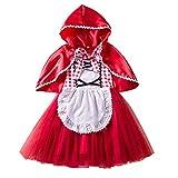 IWEMEK Disfraz Caperucita Roja Niña Vestido de Princesa tutú + Capa...