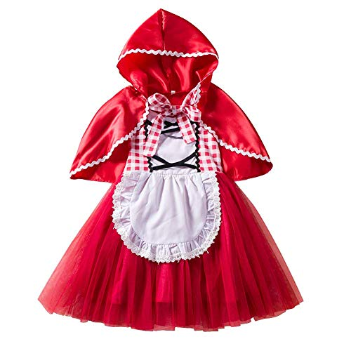 IWEMEK Disfraz Caperucita Roja Niña Vestido de Princesa tutú + Capa con Capucha Disfraces de Carnaval Fiesta Halloween Navidad Trajes Cosplay Fancy Dress Up Infantil Bebé Ropa Rojo 2-3 años