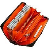GrayLife Monster Wallet 長財布 YKK 大容量 カーボンレザー メンズ 財布 ウォレット 小銭入 (Orange)