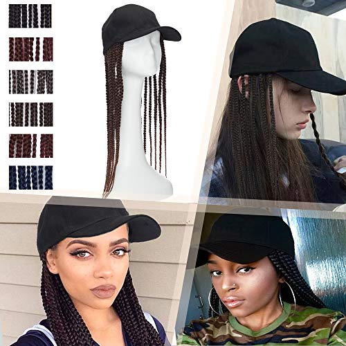 Hairro Baseball Cap with Hair Braids 18 Inch Long Synthetic Hair Box Braid with Cap for Men and Women Hip Hop Punk Style Faux Locs Hat Wig 2 Tones Hair Extensions 1BT30 Black Mix Auburn