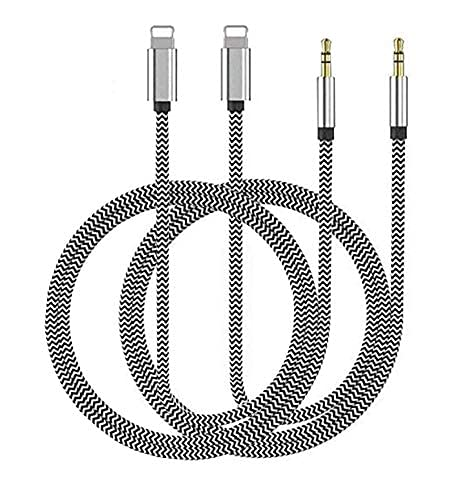 Aux Cord for iPhone, 2 Pack Apple MFi Certified Lightning to 3.5mm Nylon Braided Audio Stereo Cable for iPhone 12 11 SE XS XR X 8 7 6 iPad iPod to Car Home Stereo, Speaker, Headphone - 3.3Ft Silver