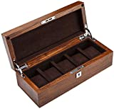 NBVCX Home Accessories 5 Slot Watch Display Storage Box with Accessories Tray Wooden Exterior Soft Lining Interior with 5 Removable Cushions Metal Clasp Showcase for Men/Women
