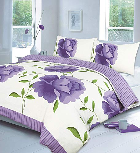 Voice 7 Rosaleen Lilac Duvet Set - Includes Duvet Quilt Cover And Two Matching Pillow Cases - Flowers on Poly Cotton Bed Set (Lilac Double Size Set)
