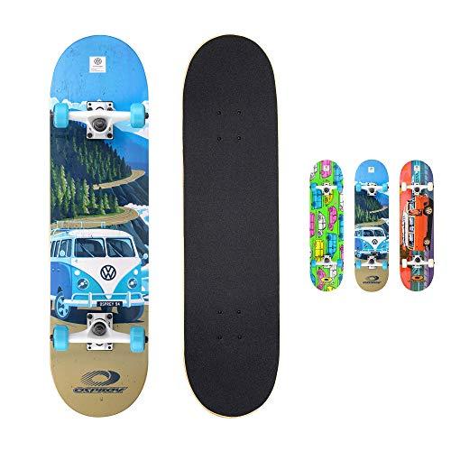 Osprey VW Complete Beginners Double Trick Kick Skateboard, Volkswagen Design, Blue, 31 x 8 Inches Maple Deck