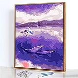 GJJHR DIY Pintura por Números Kits,Sirena púrpura Pintada a Mano Pintura al óLeo Digital, DecoracióN del Hogar Regalo - 40x50cm(Marco de Madera)