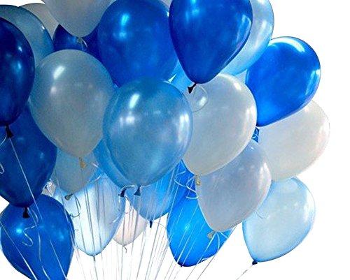 Toruiwa 20x Ballon Gonflable Bleu Blanc pour Décoration de Cémonie de Mariage Baptême Anniversaire Saint Valentin