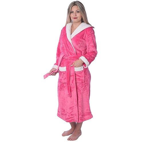 Women s Plus Size Plush Soft Warm Fleece Long Bathrobe Robe f3e802ea0