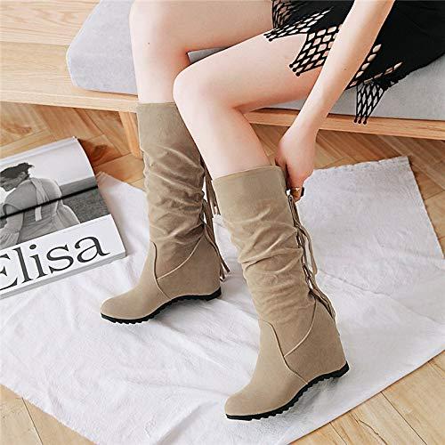 Shukun enkellaarzen herfst en winter franje laarzen plat bodem verhogen hoge hakken mat laarzen in de buis verdikking hoge buis damesschoenen