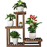 """COOGOU Wood Plant Stand Indoor Outdoor 4 Tiers Plant Rack Corner Planter Shelf Flower Pot Holder for Living Room Garden Patio Yard Porch (Space Saving,27.6"""",Small)"""