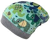 Wollhuhn ÖKO Beanie-Mütze Elefanten blau/grün für Jungen und Mädchen (aus Öko-Stoffen, Bio), 20161121, Größe XS: KU 42/46 (ca 6 Mon. bis 2 Jahre)