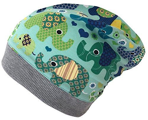 Wollhuhn ÖKO Leichte Beanie-Mütze Elefanten blau/grün für Jungen und Mädchen (aus Öko-Stoffen, Bio), 20161121, Größe XS: KU 42/46 (ca 6 Mon. bis 2 Jahre)